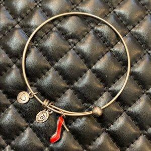 Brighton Silver Red Heel Charm Bangle Bracelet